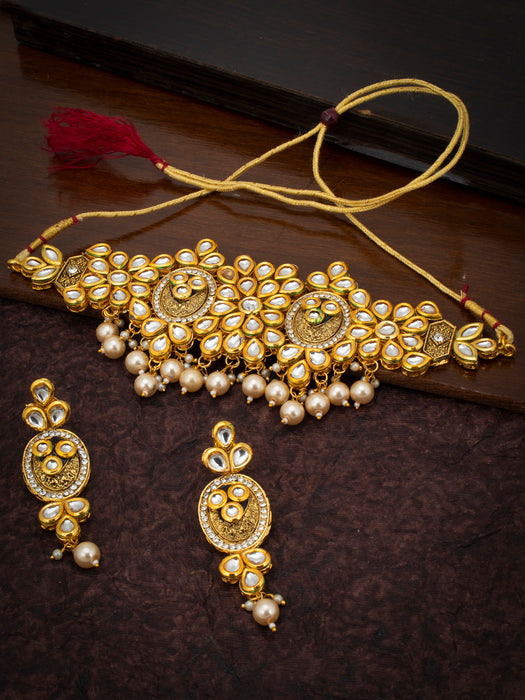 Sukkhi Glossy Pearl Gold Plated Kundan Choker Necklace for Women