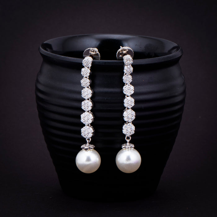 Sukkhi Lavish Pearl CZ Rhodium Plated Drop Earring for Women