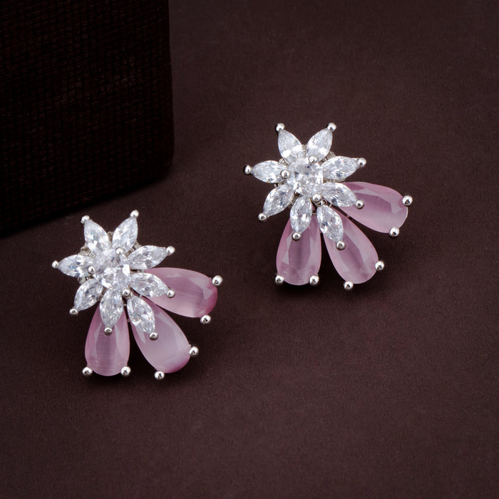 Sukkhi Floral CZ Rhodium Plated Stud Earring For Women