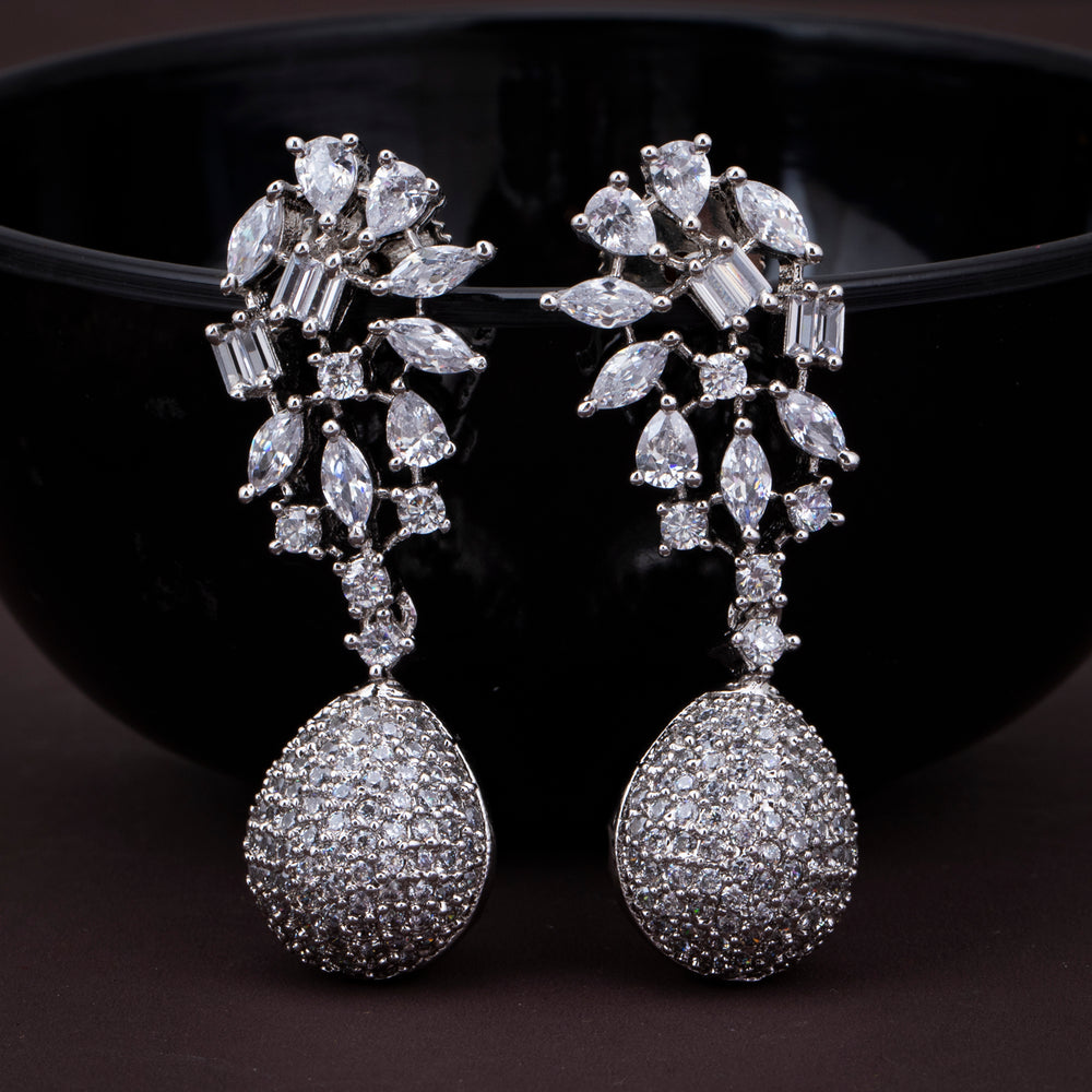 Sukkhi Charming CZ Rhodium Plated Drop Earring for Women