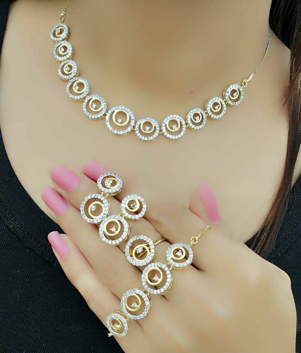 Sukkhi Delicate Gold Plated Circular Combo Necklace Set for Women