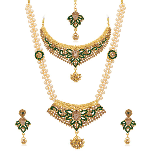 Sukkhi Glorious LCT Gold Plated Pearl Dual Necklace Set for Women