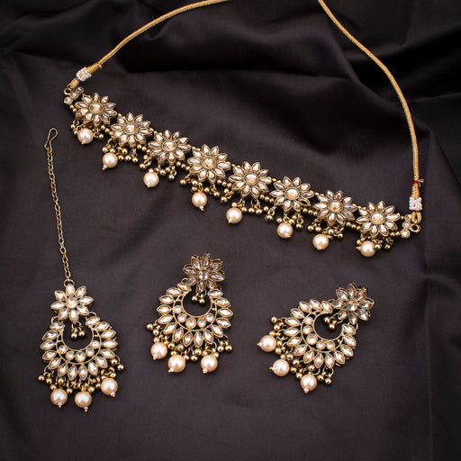 Sukkhi Floral Gold Plated Pearl Choker Necklace Set With Maangtikka for Women
