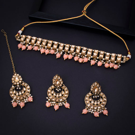 Sukkhi Splendid Gold Plated Pearl Choker Necklace Set With Maangtikka for Women