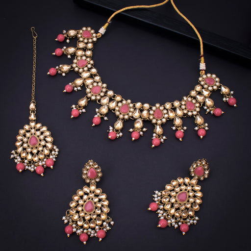 Sukkhi Spectacular Gold Plated Pink Pearl Choker Necklace Set With Maangtikka for Women