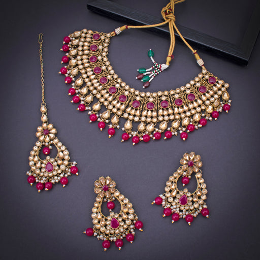 Sukkhi Excellent Gold Plated Pink Pearl Choker Necklace Set With Maangtikka for Women