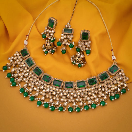 Sukkhi Excellent Gold Plated Green Pearl Choker Necklace Set With Maangtikka for Women