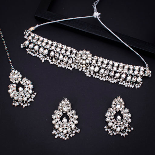 Sukkhi Floral Rhodium Plated Necklace Set With Maangtikka for Women