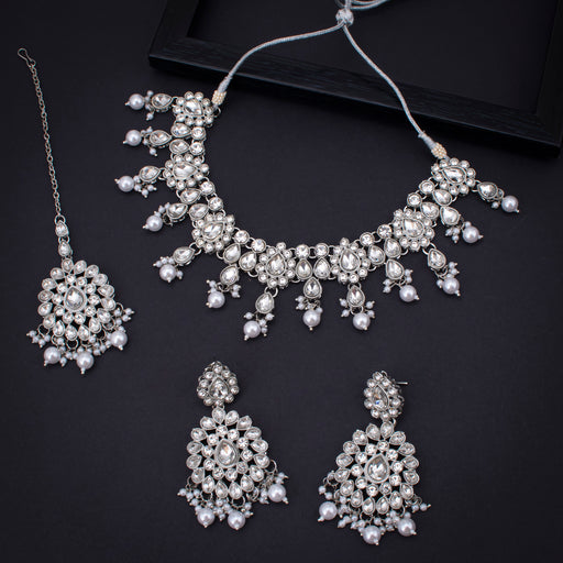 Sukkhi Intricately Rhodium Plated Necklace Set With Maangtikka for Women