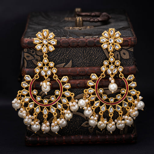 Sukkhi Equisite Gold Plated Kundan Pearl Drop Earring for Women