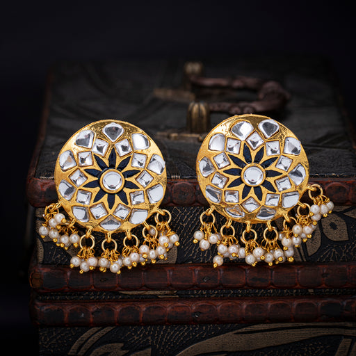 Sukkhi Stunning Gold Plated Kundan Pearl Stud Earring for Women