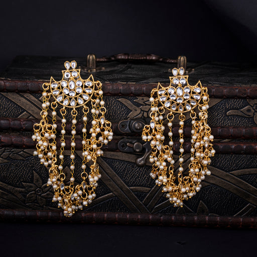 Sukkhi Glistening Gold Plated Kundan Pearl Drop Earring for Women