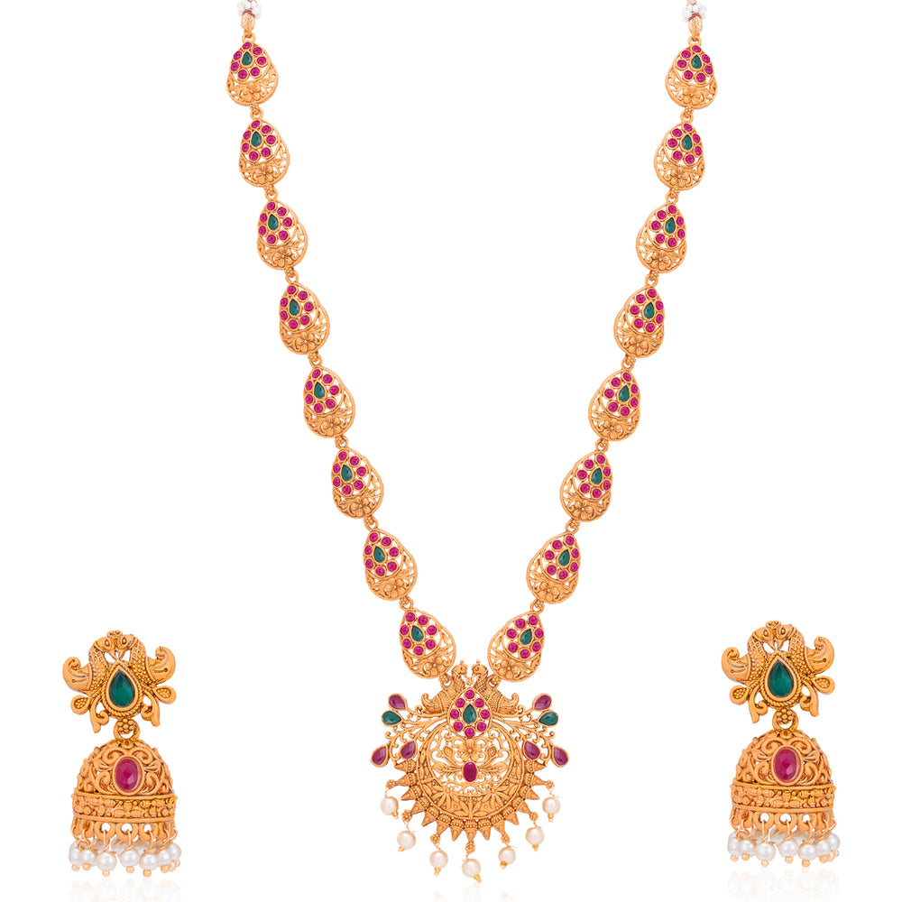 Sukkhi Glorious Pearl Gold Plated Temple Jewellery Long Haram Necklace Set for Women