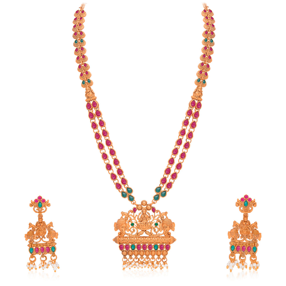 Sukkhi Lovely Pearl Gold Plated Goddess Temple Jewellery Long Haram Necklace Set for Women