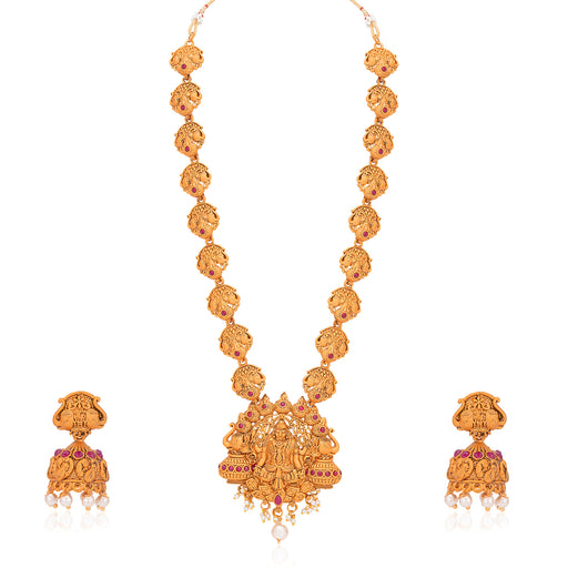 Sukkhi Splendid Pearl Gold Plated Goddess Temple Jewellery Long Haram Necklace Set for Women