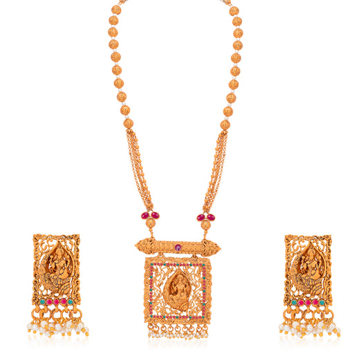 Sukkhi Spectacular Pearl Gold Plated Goddess Temple Jewellery Long Haram Necklace Set for Women