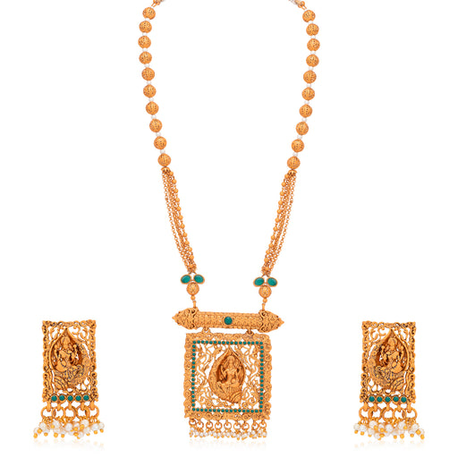 Sukkhi Glimmery Pearl Gold Plated Goddess Temple Jewellery Long Haram Necklace Set for Women