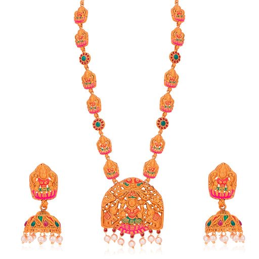 Sukkhi Incrediable Pearl Gold Plated Goddess Temple Jewellery Mint Collection Long Haram Necklace Set for Women
