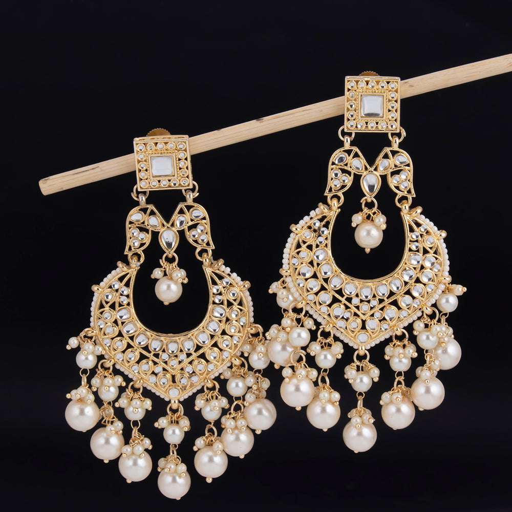 Sukkhi Intricately Dangle Gold Plated Kundan & Pearl Earring For Women