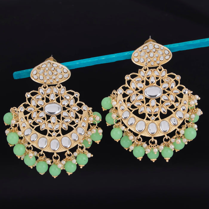 Sukkhi Gleaming Dangle Gold Plated Kundan & Pearl Earring For Women
