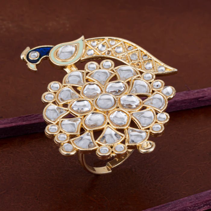 Sukkhi Glitzy Peacock Kundan Gold Plated Ring for Women