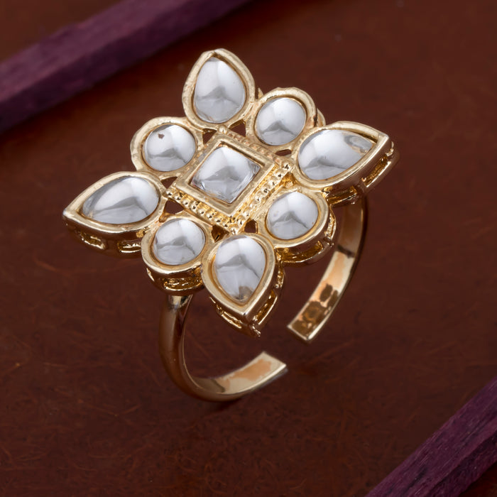 Sukkhi Artistically Kundan Gold Plated Ring