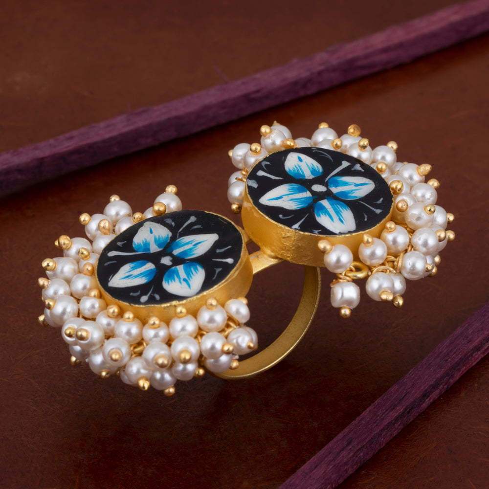 Sukkhi Adorable Pearl Gold Plated Blue Ring for Women