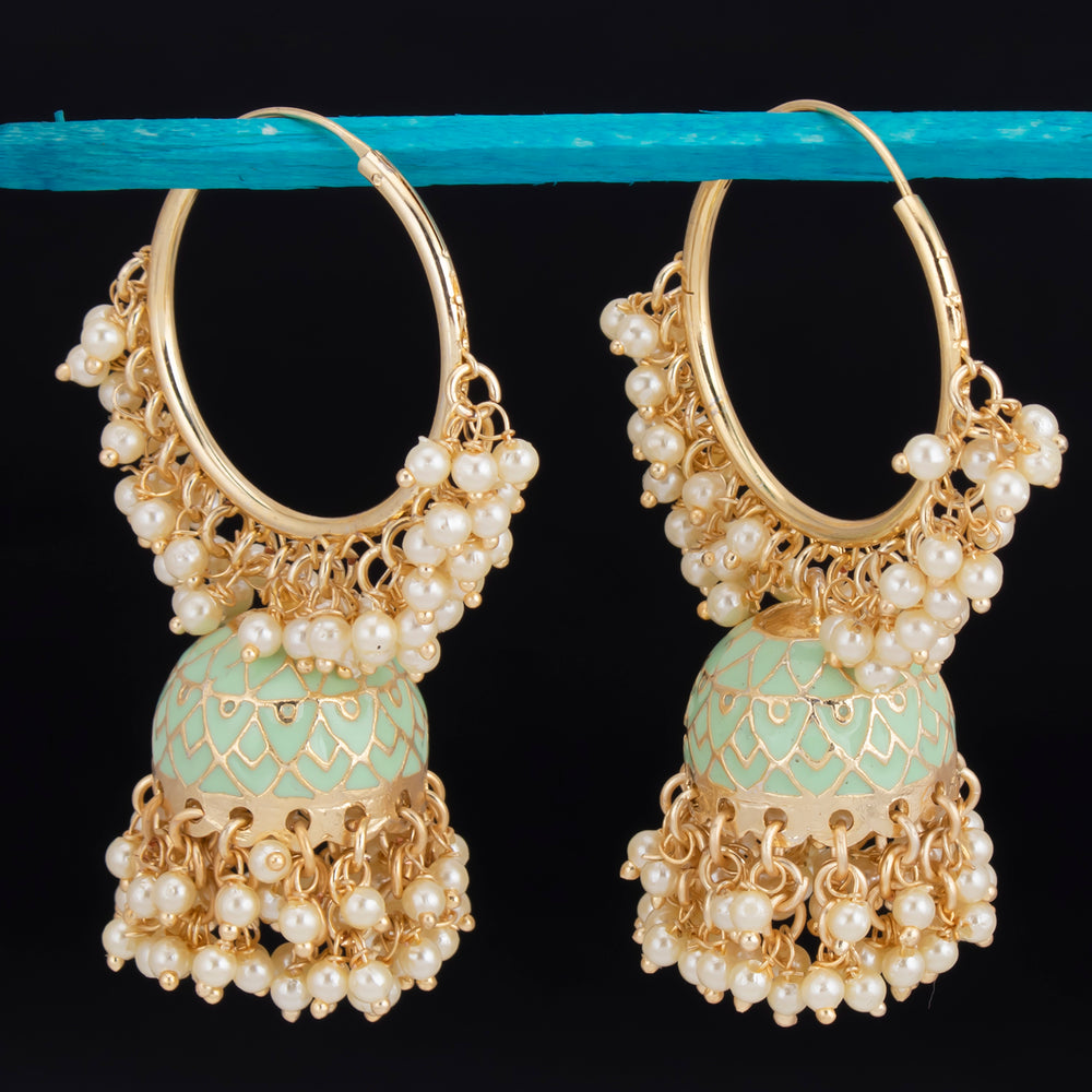 Sukkhi Excellent Gold Plated Mint & Pearl Jhumki Earring For Women