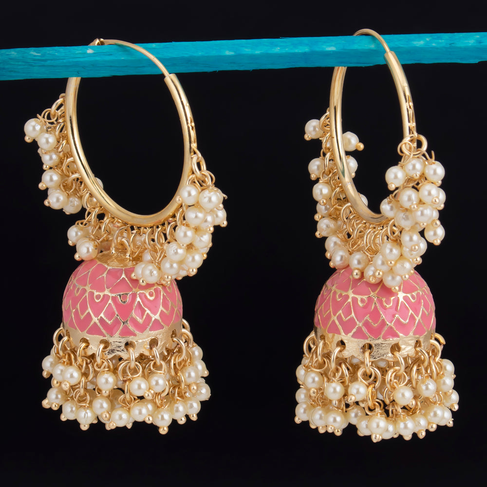 Sukkhi Alluring Gold Plated Mint & Pearl Jhumki Earring For Women