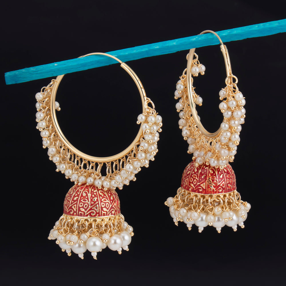 Sukkhi Glorious Gold Plated Mint & Pearl Jhumki Earring For Women