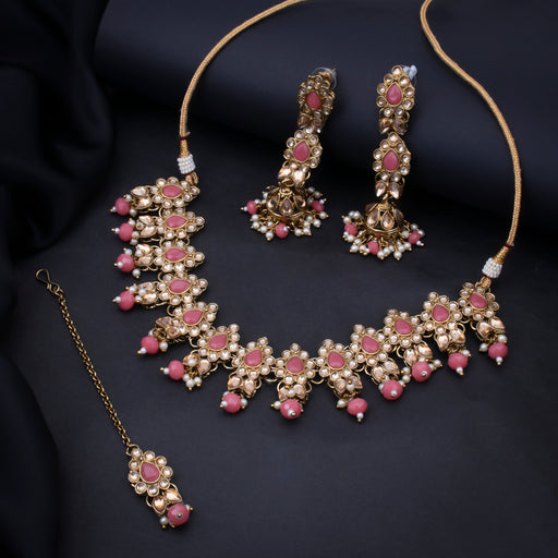 Sukkhi Spectacular Gold Plated Choker Kundan Pearl Necklace Set with Maangtikka for Women