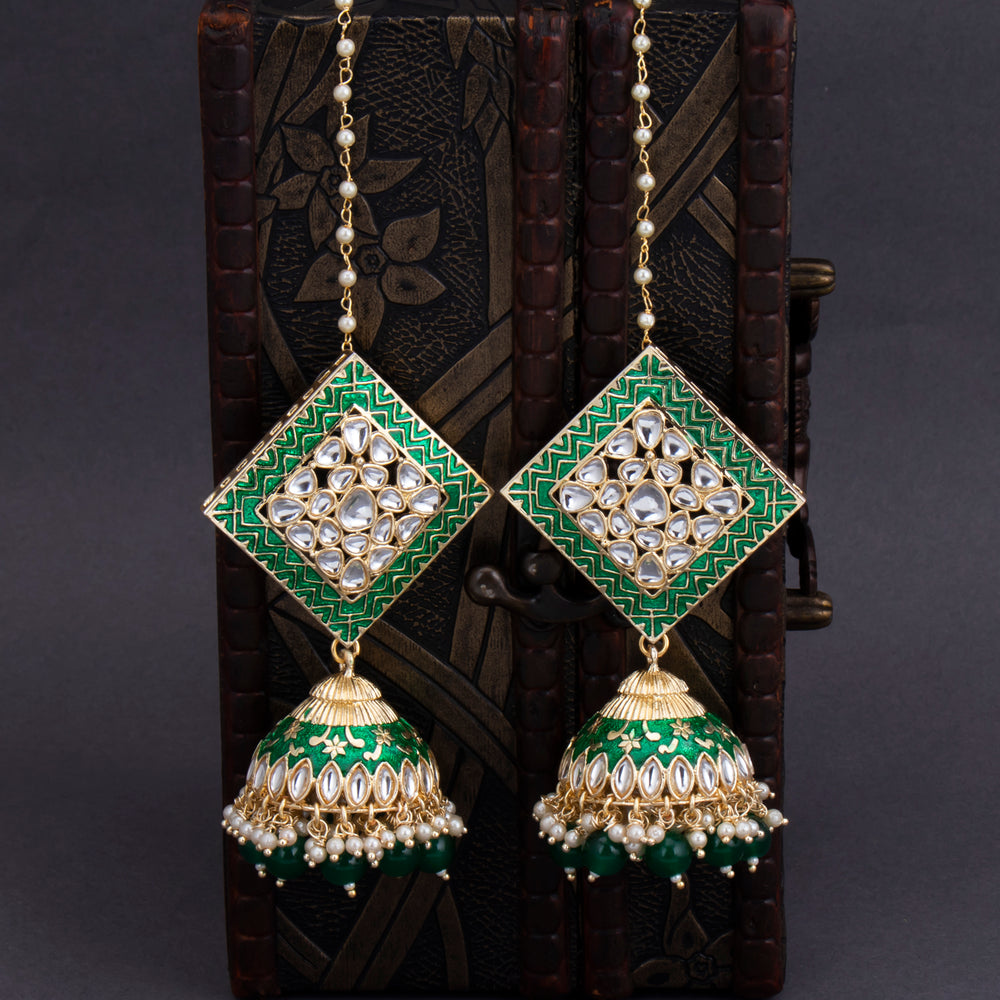 Sukkhi Beguiling Gold Plated Mint Kundan & Pearl Jhumki Earring For Women