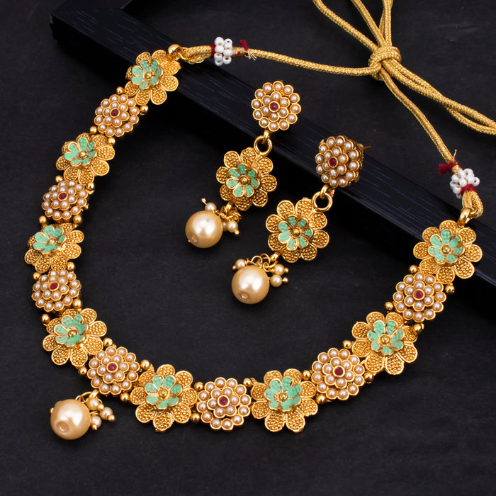 Sukkhi Pleasing Floral Gold Plated Choker Necklace Set for Women