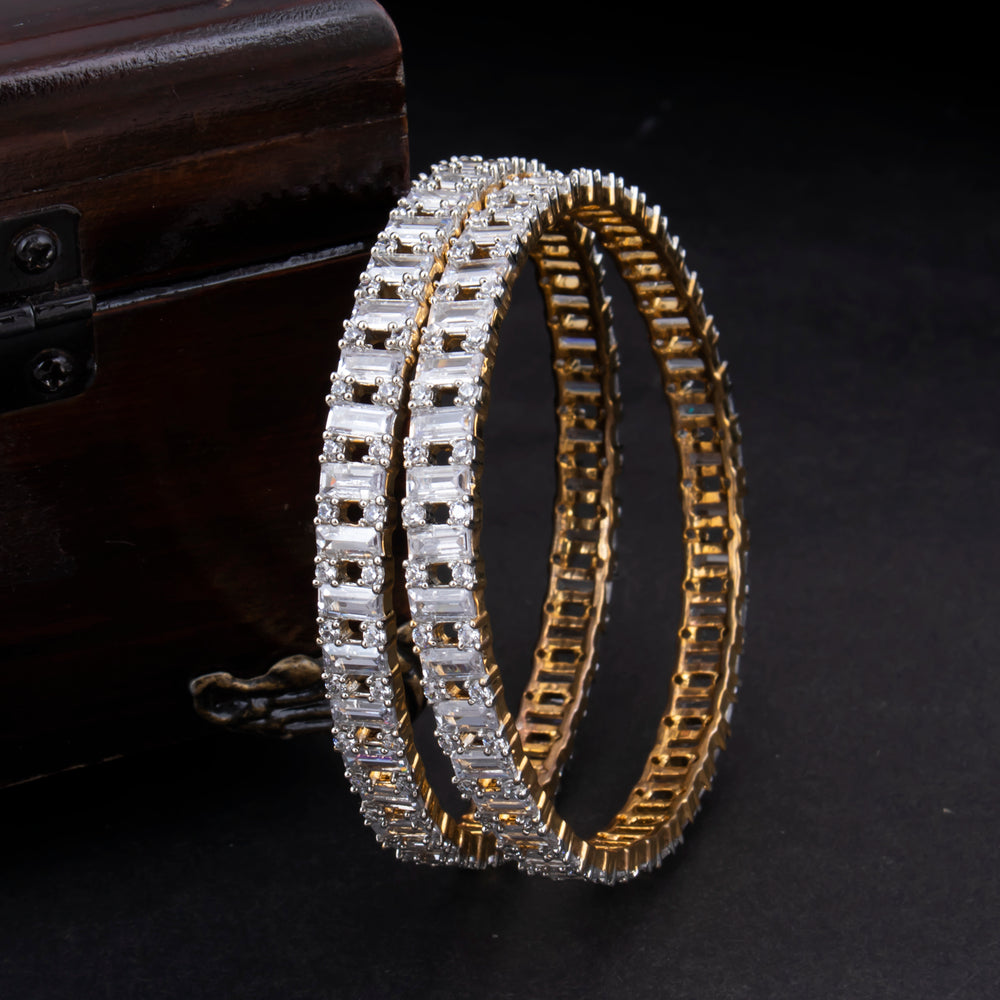Sukkhi Glittery Gold Plated CZ Bangles For Women