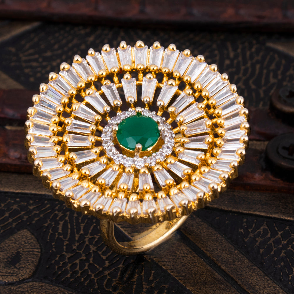 Sukkhi Dazzling Gold Plated CZ Ring For Women