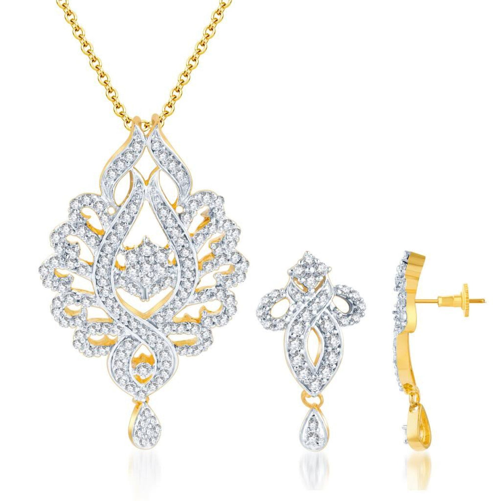 Pissara Pleasing Gold and Rhodium plated CZ Pendant Set