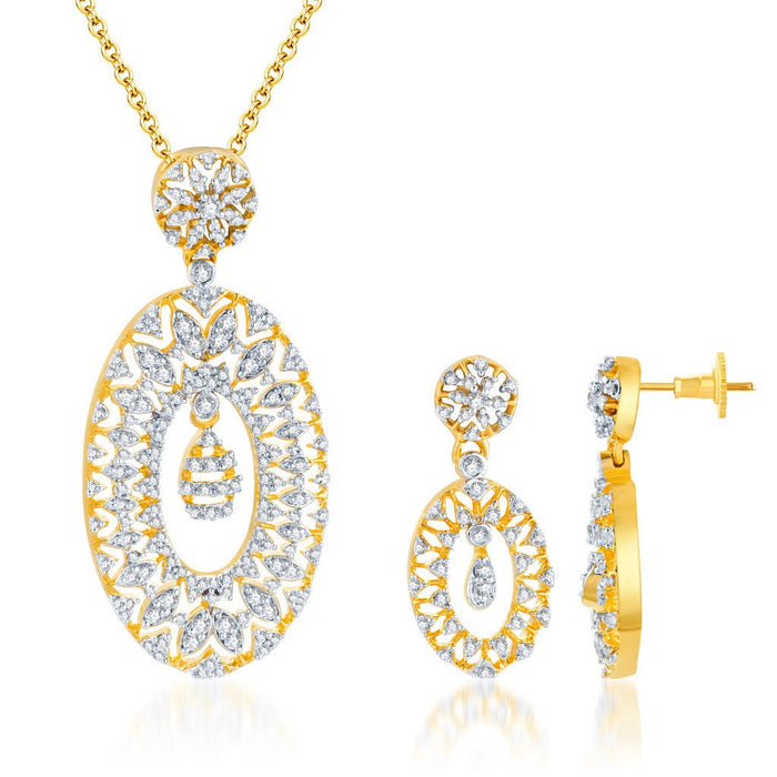 Pissara Marvellous Gold and Rhodium plated CZ Pendant Set