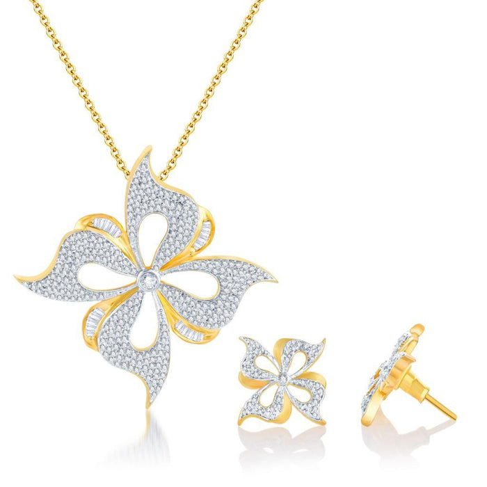 Pissara Beguilling Gold and Rhodium plated CZ Pendant Set