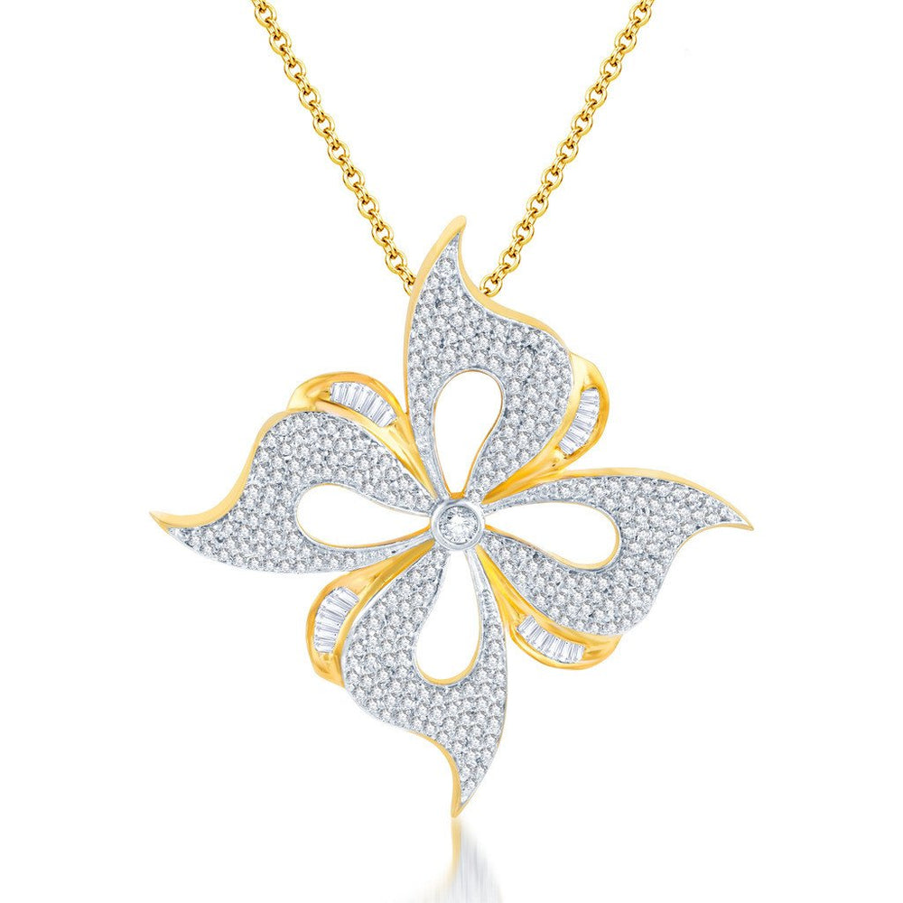 Pissara Beguilling Gold and Rhodium plated CZ Pendant Set -1
