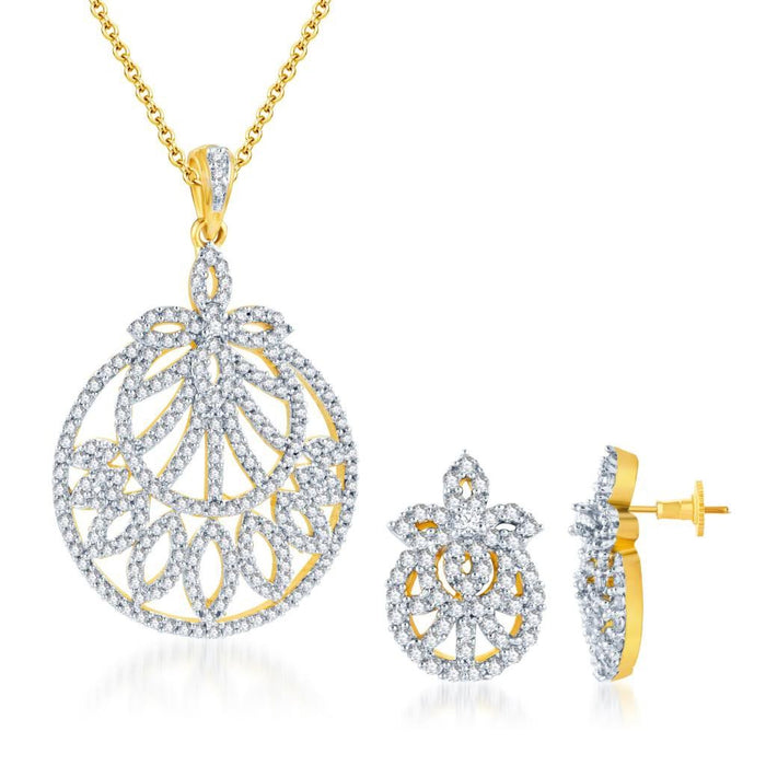 Pissara Enchanting Gold and Rhodium plated CZ Pendant Set