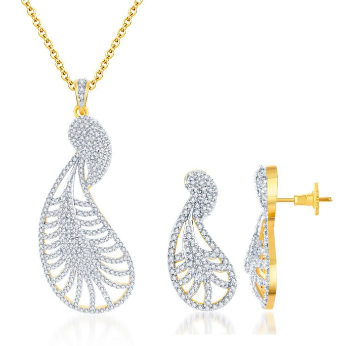Pissara Pretty Gold and Rhodium plated CZ Pendant Set