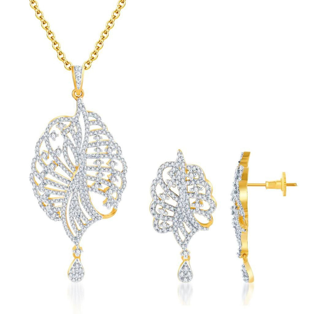 Pissara Eye-Catchy Gold and Rhodium plated CZ Pendant Set