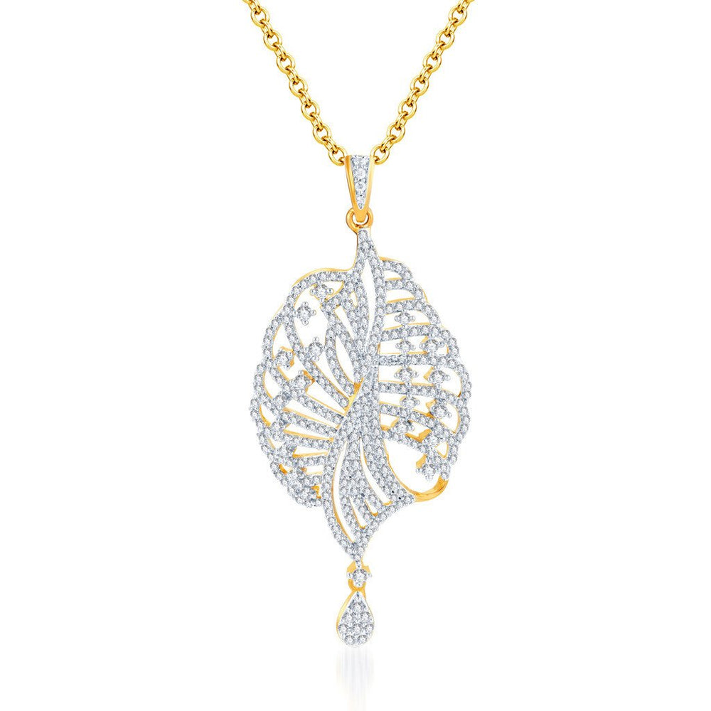 Pissara Eye-Catchy Gold and Rhodium plated CZ Pendant Set -1