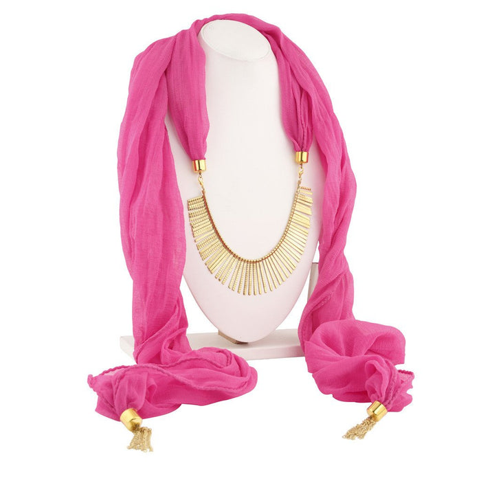 Sukkhi Excellent Gold Plated Scarf Necklace With Chain For Women