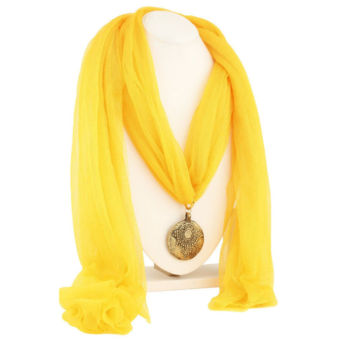 Sukkhi Charming Gold Plated Scarf Necklace With Chain For Women