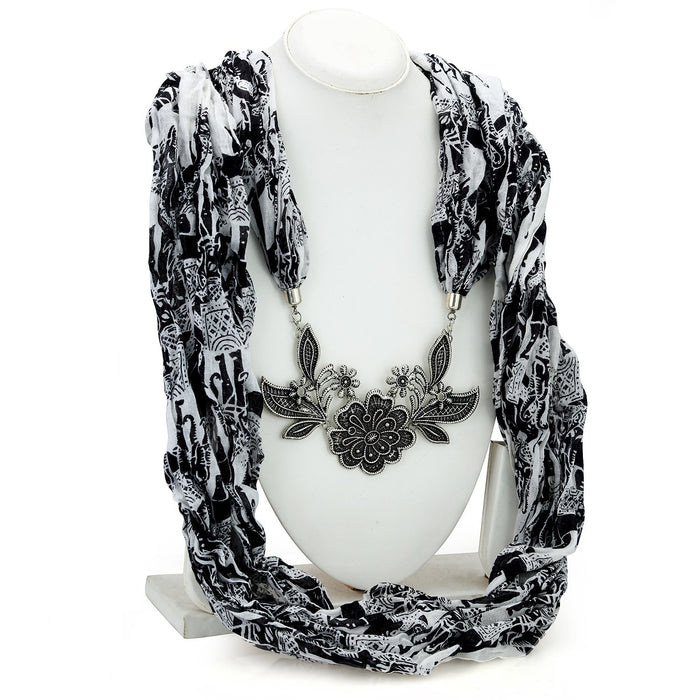 Sukkhi Estonish Black and White Oxidised Scarf Necklace Set for women