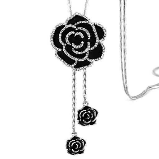 Sukhi Ritzy Floral Rhodium Plated Necklace for Women