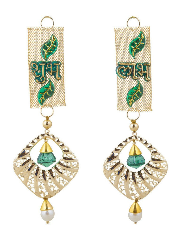 Sukkhi Elegant Shubh Labh Door Hanging in Golden and Green
