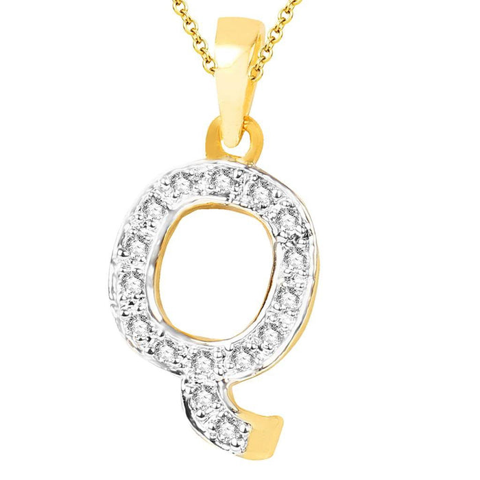 Sukkhi Cubic Zirconia Stone Studded Alphabet 'Q' Pendant with Chain