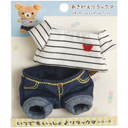 San-X OKIGAE RILAKKUMA Clothes Set (Stripe Shirts & Denim Pants)